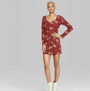 Casual Floral Long Burgundy Sleeve Dress